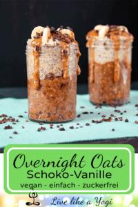 Overnight Oats Schoko-Vanille vegan Rezept ohne raffinierten Zucker
