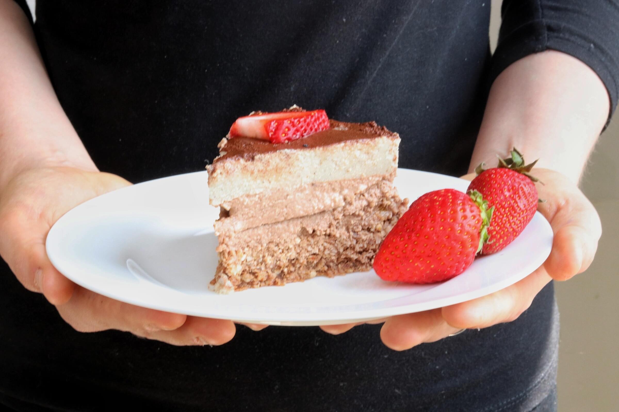 Veganes Dessert Tiramisu mit Schoko- und Vanillecreme glutenfrei Rezept