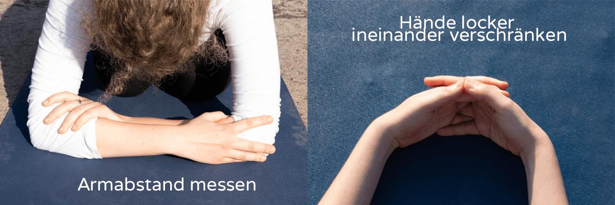 Asanas für mehr Selbstbewusstsein Kopfstand Sirsasana Handhaltung